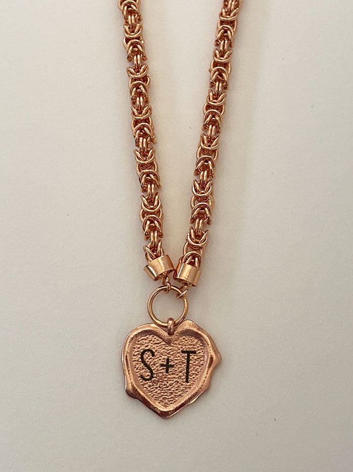 Heart initials rose gold wax seal necklace - Tipsyfly
