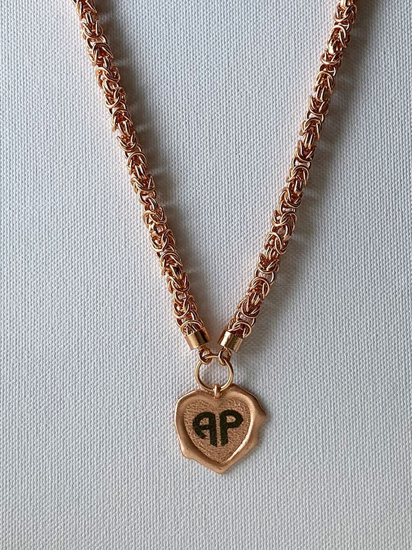 Rose gold Heart personalised wax seal necklace - Tipsyfly