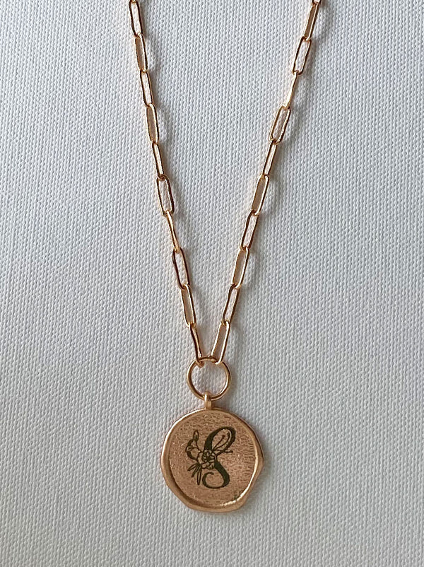 Rose gold round personalised wax seal necklace - Tipsyfly