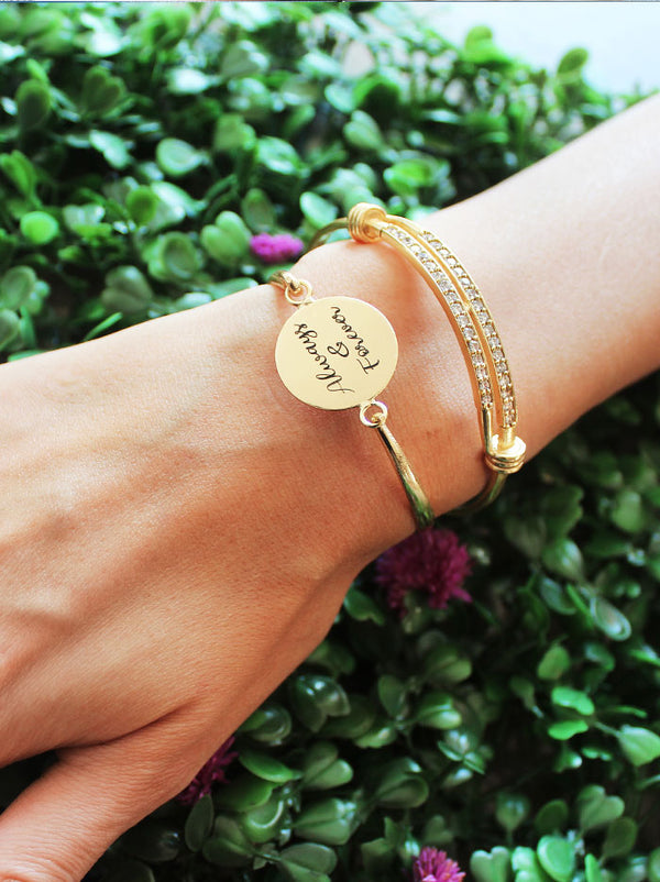 Personalised openable round cuff - Tipsyfly