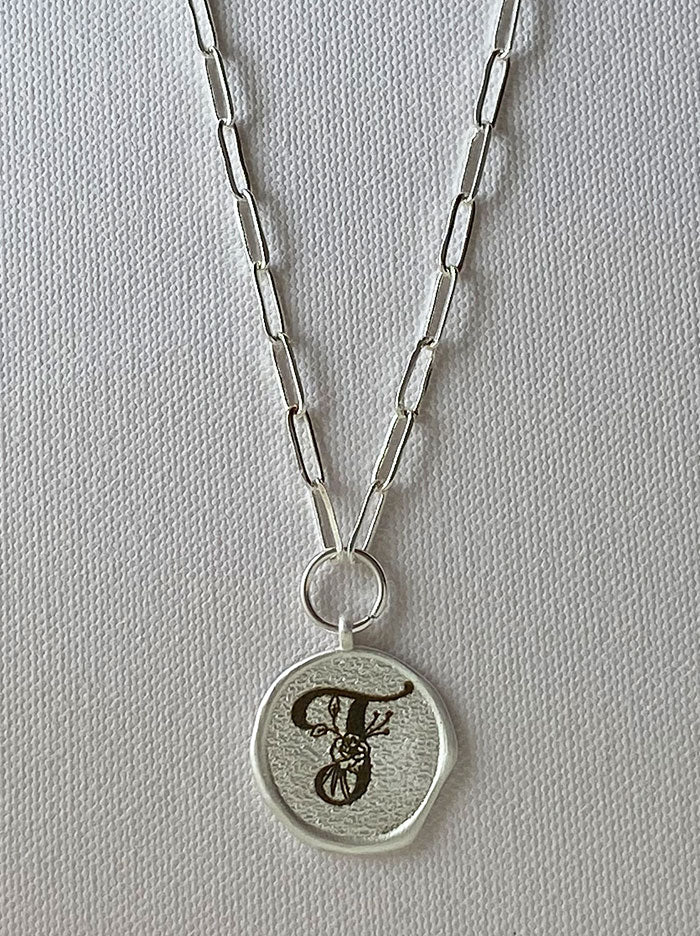Silver round personalised wax seal necklace - Tipsyfly