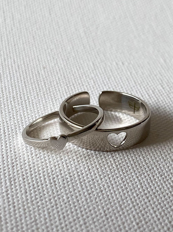 Silver Heart couple rings - Tipsyfly
