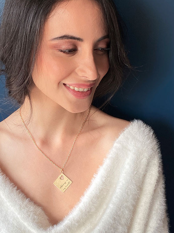 Personalised Square cutout love note necklace - Tipsyfly
