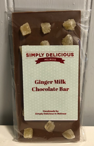Milk Chocolate Bar with Ginger Chunks (100g)