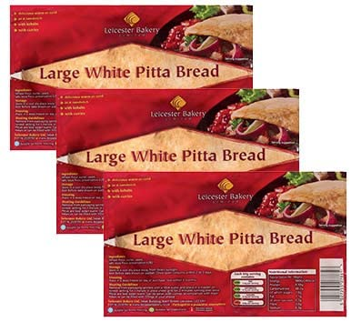 LEICESTER BAKERY 6 Large White Pitta Breads