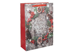 Large Merry Christmas Wreath Gift Bag
