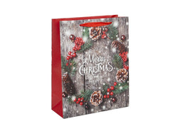 Medium Merry Christmas Wreath Gift Bag
