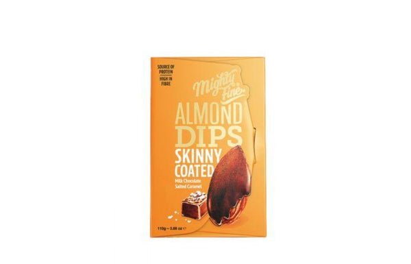 Milk Chocolate Coated Salted Caramel Skinny Almonds - Mighty Fine (110g)