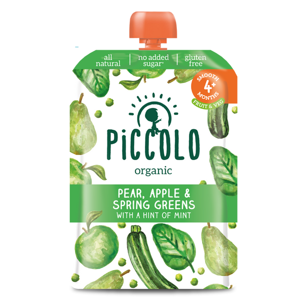 Organic Pear, Apple & Spring Greens Baby Food (Stage 1) - Piccolo