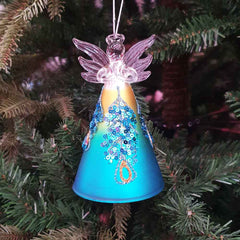 Blue Glass Angel w/Sequin Ornament