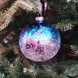 Blue and Silver Frost Ball Tag - 10cm