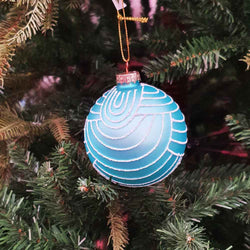 Lt Blue Glass Swirl Ball - 8cm