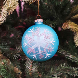 Lt Blue Glass Snowflake Ball - 8cm