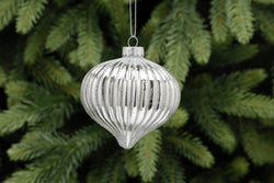 Silver with Silver Glitter Ridged Glass Onion Tag - 8cm