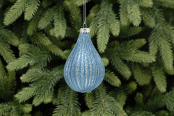 Blue with Blue Glitter Ridged Glass Drop Tag - 10cm
