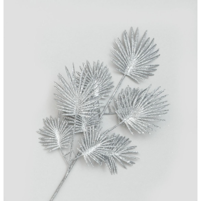 Glitter Fern Spray Silver- 64cm