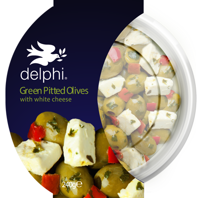 Green Pitted Olives With Feta - Delphi Foods