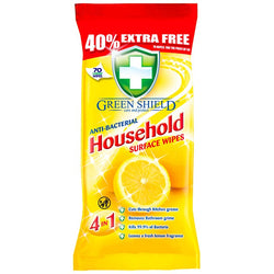 Antibacterial Wipes - Green Shield - Pack of 70 Large Wipes