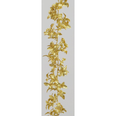 Gold Glitter Holly Garland - 6ft
