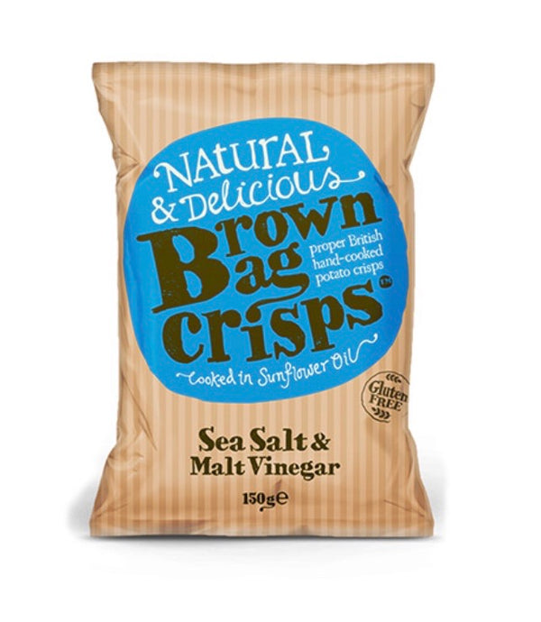 Sea Salt and Malt Vinegar (150g) - Brown Bag Crisps