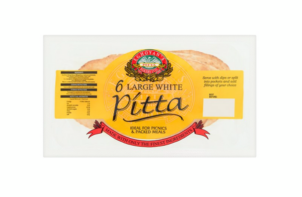 Large White Pitta Bread (Pack of 6)
