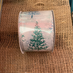 "Blue tree Glitter Ribbon- 2.5""x10Y"