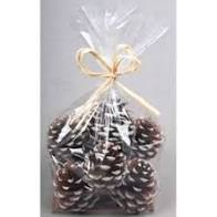 4.5cm 12Pc small white tip pinecone in bag