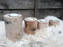 9cm Silver birch candle holder