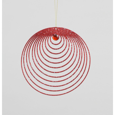 Glitter Circles Decoration Red- 32cm