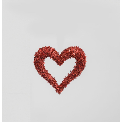 Glitter Sequin Heart Red- 15cm