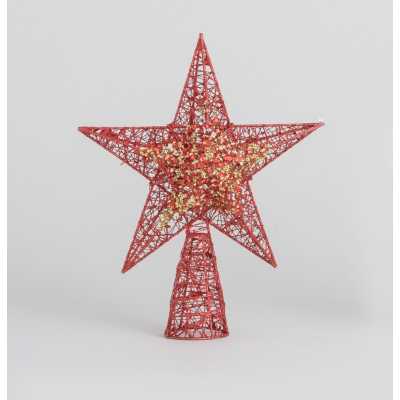 Glitter Star Tree Top Red- 32cm