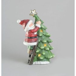 42cm Resin Santa/Tree Orn LED