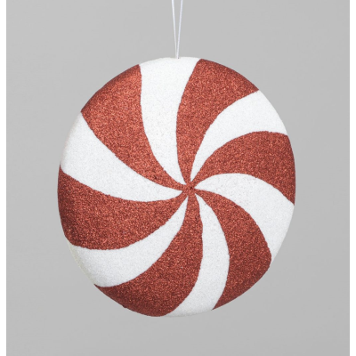 Disc Decoration Red/White- 19cm