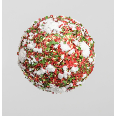 Ball Decoration w/Snow - Red/Green - 120mm