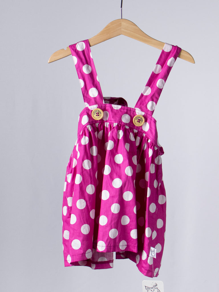 Pour Bebe Pink Dotted Dress - Size 5