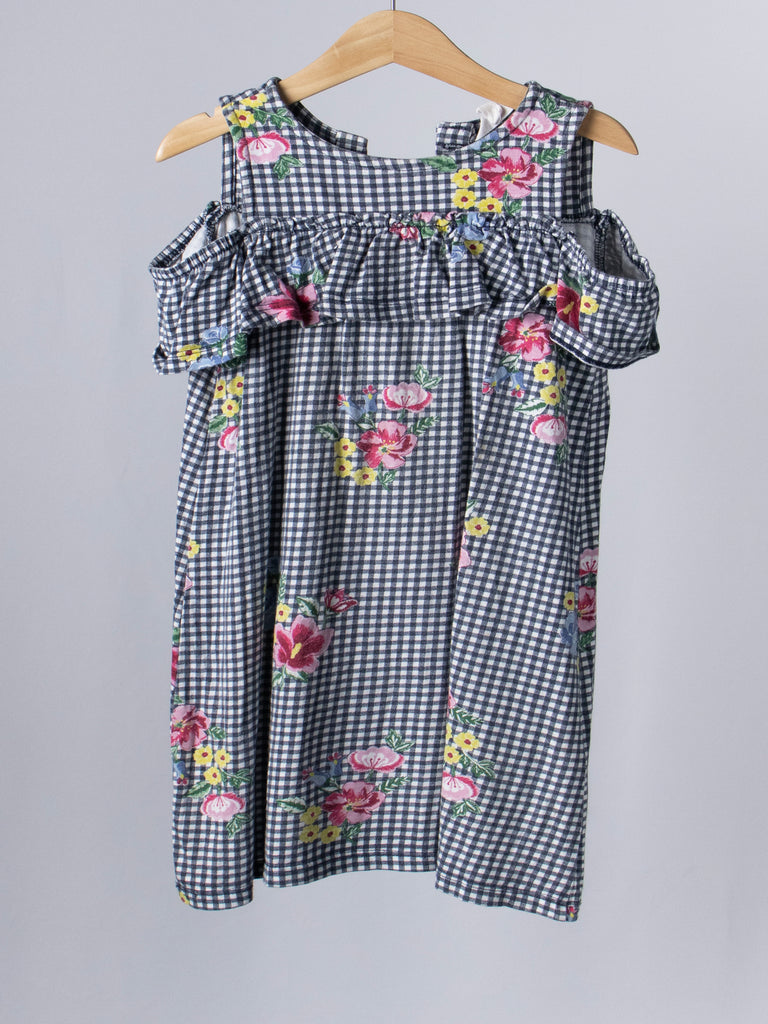 Milkshake Grey Checked Floral Dress - Size 5