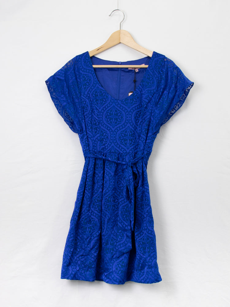Review Printed Cobalt Blue Dress - Size 10