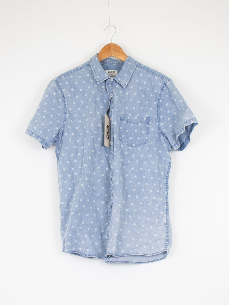 Maddox Light Blue Patterned Shirt - L