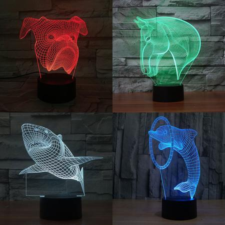 Lampe Led 3D Animaux