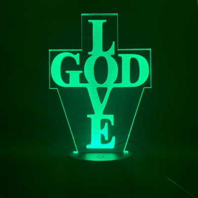 LAMPE LED 3D Croix Love God