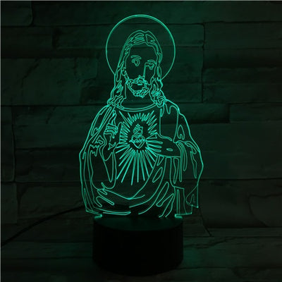 LAMPE LED 3D Christ auréole