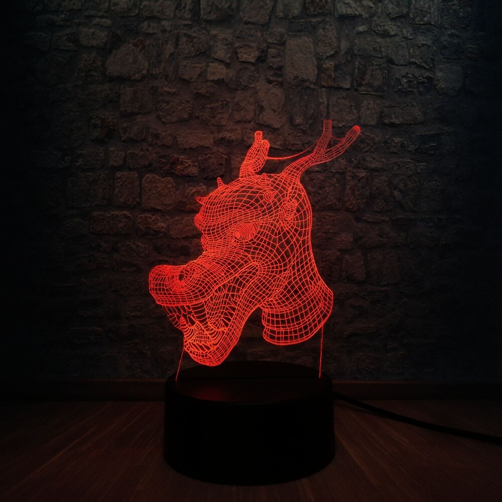 Lampe Led 3D Tête de dragon