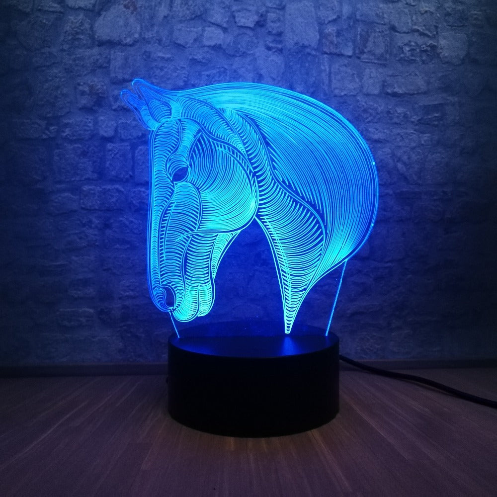 Lampe Led 3D Cheval Profil