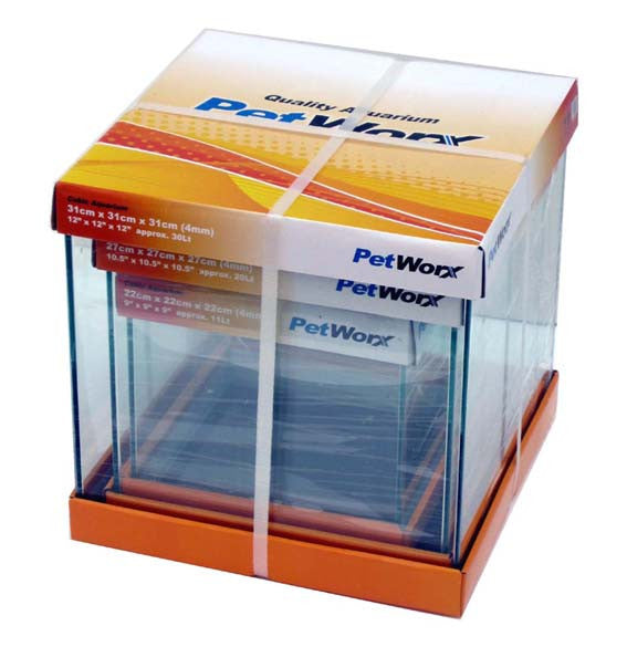 Pet Worx 22cm Cubic Aquarium 4mm 10.5Lt - Nature Aquariums