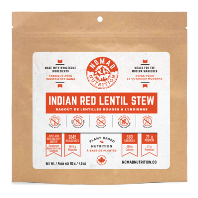 Nomad Nutrition - Plant Based Dehydrated Meals - Indian Red Lentil Stew