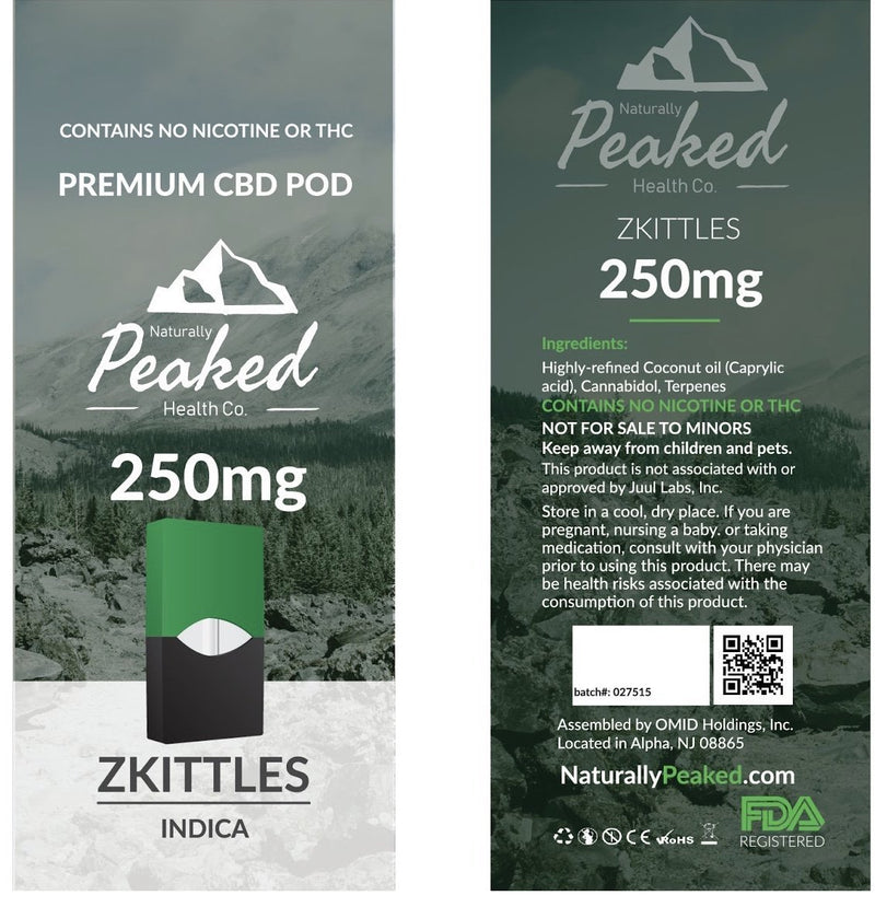 250MG Organic CBD Vape Pods | Individually Packaged | Naturally Peaked CBD