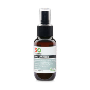Front profile of 50ml scent free organic hand sanitiser bottle