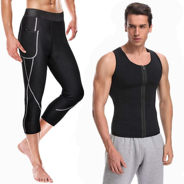 2020 Men Waist Trainer Vest for Weightloss Hot Neoprene Corset Body Shaper Zipper Shapewear Slimming Pants underwear Fitness Set