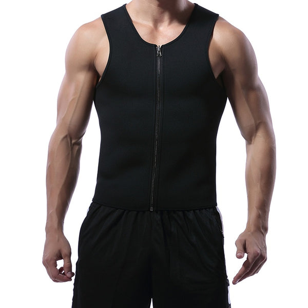 Men Waist Trainer Vest for Weightloss Neoprene Slimming Corset Body Shaper Zipper Sauna Tank Top Workout Shirt Compression Vest