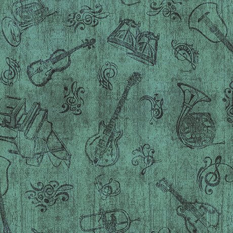 Quilting Treasures Encore Instrument Toile Green